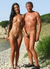 Nudist boyfriends becomes excited by nudist girls at beach