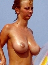 Good-looking breasts at the beach